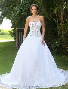 White Sweet Heart Embroidery Wedding Dress. Get unbelievable discounts up to 60% Off at Milanoo using Coupon & Promo Codes.
