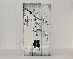 You and Me Sign Wood Signs Reclaimed Wood Art 5th Anniversary Gift Love Bird Painting Valentine Gift Wood Wall Decor Wedding Gift for Couple