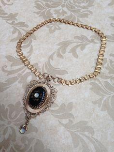 Antique BOOK CHAIN PENDANT Necklace Choker by DamselindistressNJ