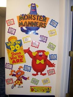 These furry friends are sure to be a hit in your classroom! This set is made for birthdays, but I wanted to change it up a bit. Monster Bulletin Boards, Monster Theme Classroom, Preschool Bulletin Boards, Preschool Classroom, Monster Room, Monster Board, School Songs, School Themes, School Stuff