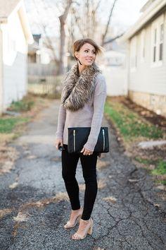 black pants, fur, fur scarf, nude heels, sweater