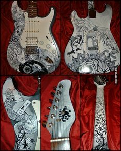 My latest custom guitar paint job project is finished!! I'm so happy!! :D