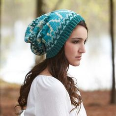 Whitney Stocking Hat Crochet Pattern-Brighten your wardrobe with an attractive colorwork stocking hat crocheted in blue shades of Willow Rustic Worsted yarn.