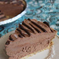 Dark Chocolate Cream Pie Recipe Desserts with graham cracker crusts, cream cheese, powdered sugar, dark chocolate, heavy cream, cool whip