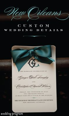 An elegant teal New Orleans wedding program I Custom by Nico and Lala