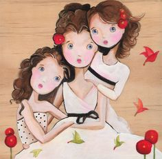 Three Friends Art Sisters Best Friends Art Print by woodwings Love My Sister, To My Daughter, Mother Daughters, Three Friends, Best Friends, Illustrations, Illustration Art, Three Sisters, Mothers Love