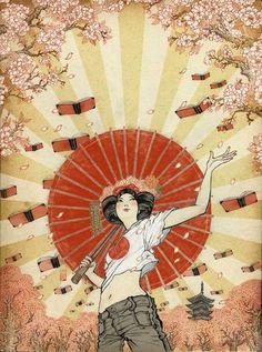 Books chirping in spring / Trinan los libros en primavera (ilustración de Yuko Shimizu)