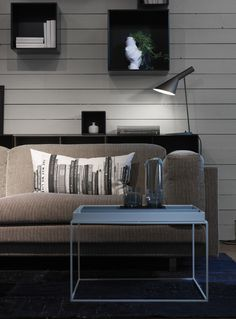 From our store south of Stockholm. AJ lamp from Louis Poulsen, shelf from Montana, sofa Tub from Eilersen, table Tray Table from Hay. Beautiful Interior Design, Beautiful Interiors, Beautiful Homes, Outdoor Sofa, Outdoor Furniture, Outdoor Decor, Living Spaces, Living Rooms, Other Rooms