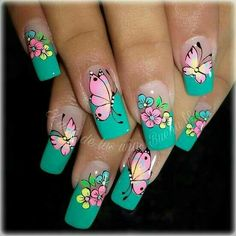 Uñas Butterfly Nail Designs, Butterfly Nail Art, Flower Nail Art, Gel Nail Designs, Cute Nails, Pretty Nails, Fingernails Painted, Easter Nail Art, Nail Polish Art