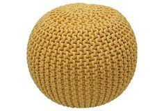 Knitted Pouf, Yellow on OneKingsLane.com