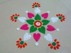 Flowers Art Kindergarten 22+ Ideas #flowers Small Rangoli Design, Colorful Rangoli Designs, Rangoli Designs Diwali, Diwali Rangoli, Rangoli Designs Images, Beautiful Rangoli Designs, Rangoli 2017, Rangoli Patterns, Rangoli Ideas