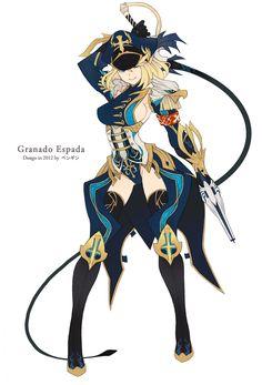 armor blonde_hair breasts granado_espada green_eyes gun hat penguin_caee pistol sideboob simple_background smile weapon whip