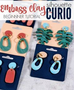 How to Cut and Emboss Clay with Silhouette Curio: DIY Clay Earrings – Persia Lou – Erica Hooper - diy projects Silhouette Curio, Silhouette Machine, Silhouette Files, Diy Clay Earrings, How To Make Earrings, Silhouette America, Handmade Polymer Clay, Polymer Clay Jewelry, Clay Beads