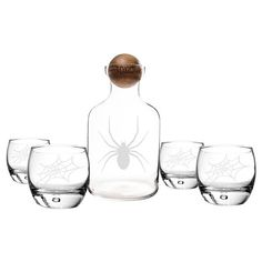 Halloween Spider Decanter and Tumblers - 5 Piece Set : Target