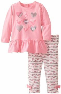 Amazon.com: Calvin Klein Baby-Girls Newborn Top with Printed Hearts and Printed Leggings: Clothing