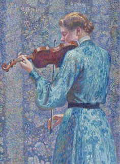 The Violinist 1903 Metal Print by Rysselberghe Theo van. All metal prints are professionally printed, packaged, and shipped within 3 - 4 business days and delivered ready-to-hang on your wall. Choose from multiple sizes and mounting options. Violin Drawing, Violin Art, Henri Matisse, Théo Van Rysselberghe, Back Drawing, Georges Seurat, Thing 1, Traditional Paintings, Magazine Art