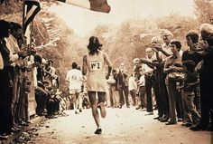 Kathrine Switzer winning the 1974 NYC Marathon in a tennis dress