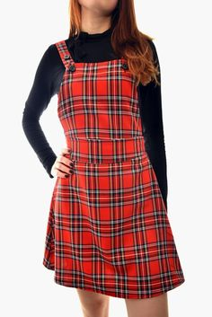 Skater Skirt Pinafore Dress in Tartan Print Mini Skater Skirt, Pinafore Dress, Check Printing, Tartan, Knitwear, Fashion Looks, Jumpsuit, Trends, Clothes For Women