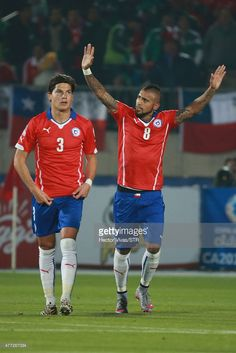 Arturo Vidal of Chile celebrates after scoring the first goal of his team during the 2015 Copa America Chile Group A match between Chile and Mexico at Nacional Stadium on June 15, 2015 in Santiago, Chile.