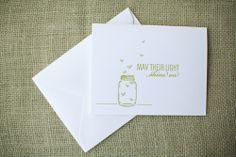 sympathy card, fireflies, letterpress, mason jar card