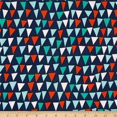 From Michael Miller Fabrics, this cotton print fabric is perfect for quilting, apparel and home décor accents. Colors include red, aqua, turquoise and white on a navy background.