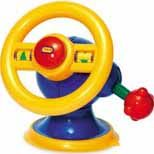 Baby Driver, with its turning, rattling steering wheel, spinning arrows, squeaky horn, and clicking, moving gear shift, teaches cause and effect and develops eye-hand coordination, motor, cognitive, and  language skills. For ages one year and up.