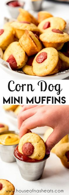 These supremely snackable baked Corn Dog Mini Muffins are perfect for anyone who loves fair food or always stops at Hot Dog-on-a-Stick at the mall! They are great for lunches, as an easy and unpretentious party appetizer, or fun afternoon snack! Plus, they freeze great so you can always have some on hand! #corndogs #hotdogs #muffins #mini #best #easy #homemade #fromscratch #appetizer #appetizers #snackfood #lunch Easy Appetizer Recipes, Appetizers For Party, Snack Recipes, Beef Recipes, Mini Banana Muffins, Corn Dog Muffins, Party Side Dishes, Side Dishes Easy, Chicken Lunch Recipes