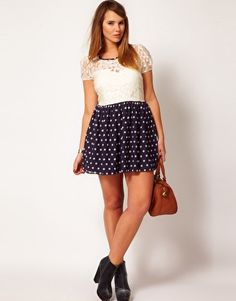 ASOS CURVE Skater Dress With Lace Top And Spot Skirt