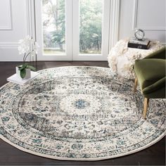 Safavieh Evoke Annabel Vintage Shabby Chic Grey / Blue/ Ivory Rug - X Round X Round - Grey/Ivory) (Polypropylene, Oriental) Shabby Chic Grey, Vintage Shabby Chic, Shabby Chic Decor, Vintage Floral, Vintage Rugs, Big Area Rugs, Round Area Rugs, Traditional Area Rugs, Cool Rugs