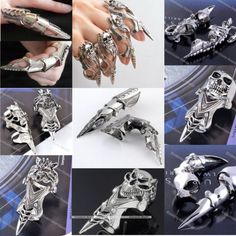 Men's Spike Armor Knuckle Joint Full Punk Gothic Finger Cool Ring Xmas Gift | eBay Again, I wish these fit my fingers!