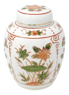Vintage Lotus and Lily Pads Hand-Painted Ginger Jar on Chairish.com