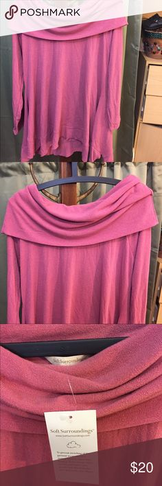 Beautiful Cowl Neck Tunic Brand New  PL Beautiful oh so soft material.  Gorgeous Cowl Neck. Size PL soft Surroundings Tops Tunics