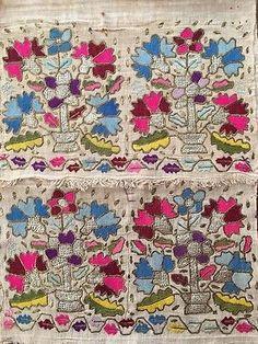 Antique Ottoman-turkish Silk & Gold Metallic Hand Embroidery On Linen N4