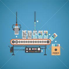 industrie produire convoyeur usine vectoriel illustration vectorielle libre de droits