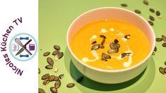 Kürbis-Süßkartoffel Suppe - Thermomix® - Rezept von Nicoles Küchen Tv Zucchini, Cheeseburger Chowder, Soup, Pudding, Tableware, Desserts, Kitchens, Cake, Sweet Potato Recipes