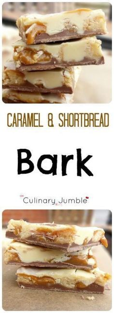 The simplest candy ever - melted chocolate, caramel and homemade shortbread makes this bark truly amazing! Candy Recipes, Sweet Recipes, Baking Recipes, Cookie Recipes, Dessert Recipes, Holiday Baking, Christmas Desserts, Christmas Baking, Christmas Treats