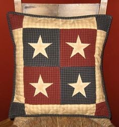 Quilted Pillow Cover Primitive Americana Stars 18 x 18 inch Primitive Pillows, Primitive Quilts, Primitive Crafts, Primitive Country, Sewing Pillows, Diy Pillows, Americana Crafts, Pillow Inspiration, Quilted Table Runners