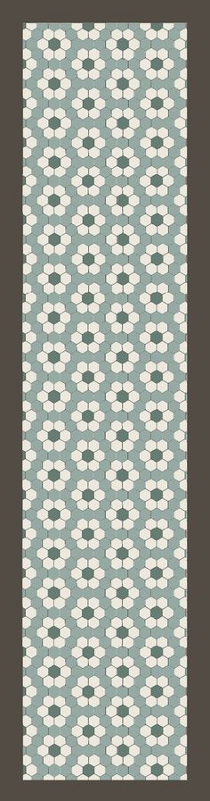 in de gang hexagon 10x10 cm blue pale, blanc vert pale antraciet. vanaf 89 euro per m2. Hexagon tile pattern  Hallway?