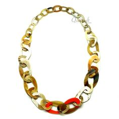 QueCraft Horn & Lacquer Chain Necklace - Q10273-O