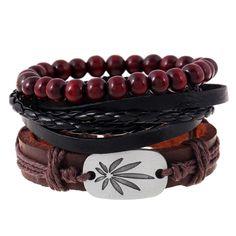 Fashion Jewelry Weed Bracelet Jamaica Leather Hip hop Buddha Wine Beads Bracelet for Women Men Girl Gifts Wristband 3pcs/set