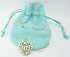 Retired tiffany co filigree heart tag bracelet with key in retired tiffany co filigree heart pendant with key necklace w pouch aloadofball Choice Image