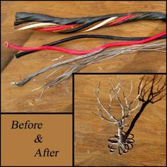 A great accent piece for the industrial look! This primitive tree had a previous life as a heavy duty electrical cord for a welder. The aluminum is no Wire Tree Sculpture, Electrical Cord, Accent Pieces, Simple Designs, Primitive, Sewing Crafts, Previous Life, Upcycle, Recycling
