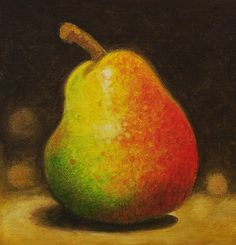 Pear Painting on Canvas Board by creativedriven on Etsy