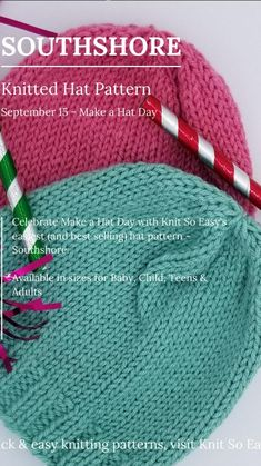 Knitted Hats, Crochet Hats, Fall Knitting, Hat Day, Easy Knitting Patterns, Knitting Hats, Knit Hats