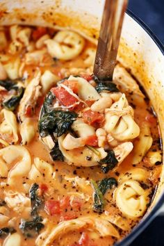 Creamy Tuscan Garlic Tortellini Soup is so easy to make and one of the best soups that you will make! Tortellini, diced tomatoes spinach and white beans are hidden is the most creamy and delicious sou