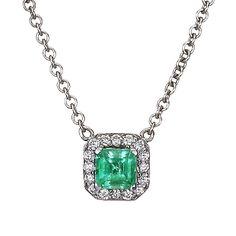 18K White Gold Emerald Halo Diamond Pendant from Brilliant Earth