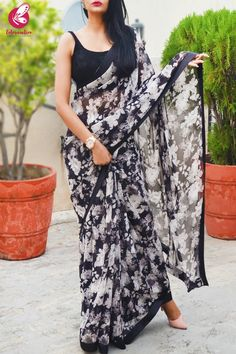 Buy Black White Printed Georgette Black Satin Taping Saree by Colorauction - Online shopping for Sarees in India Chiffon Saree, Silk Sarees, Satin Saree, Indian Sarees, Georgette Sarees, Cotton Saree, Cotton Silk, Indian Fashion Dresses, Indian Designer Outfits