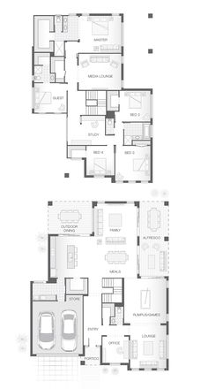 Multiple living and entertaining spaces, both upstairs and downstairs provide family space. 5 Bedroom House Plans, Family House Plans, New House Plans, Dream House Plans, Modern House Plans, House Floor Plans, Double Storey House Plans, Double Story House, Br House