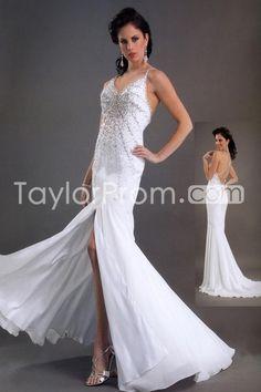 Gorgeous Trumpet/Mermaid Spaghetti Straps Split-Front Beaded Chiffon Wedding Dresses