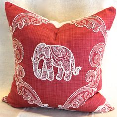 Elephant cushion cover   pink red with ivory by ThePoshRobin